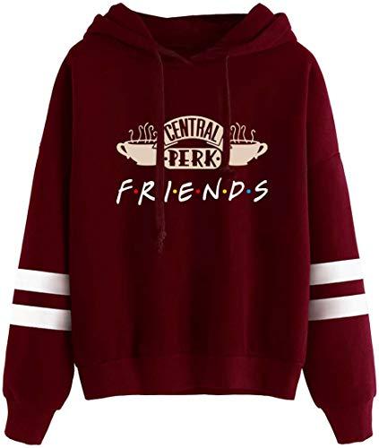 EMLAI Mujer Sudaderas con Capucha Friends Logo Central Perk Impresión Series de TV Hoodie con Forro Polar Invierno Casual (S, 0 Vino Rojo-3)