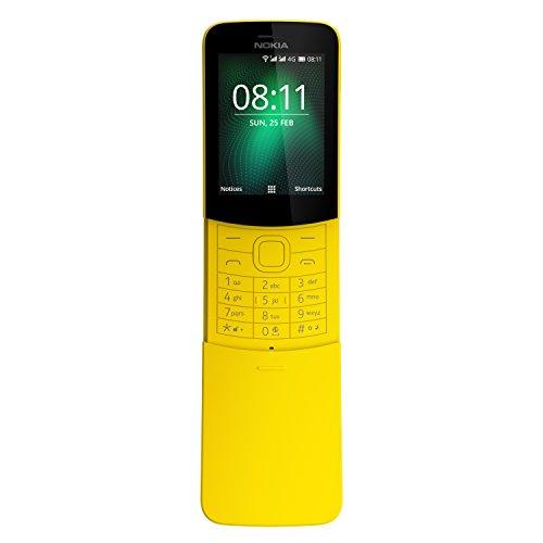 Nokia 8110 Mobiltelefon (2,45 Zoll QVGA Bildschirm, 4G, 2MP Kamera mit LED Blitz, MP3 Player, FM Radio, Weckfunktion, spritzwassergeschützt (IP52), Bluetooth 4.1) gelb