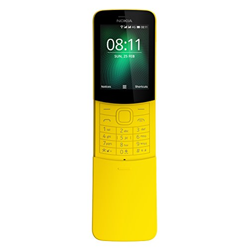 Nokia 8110 Mobiltelefon (2,45 Zoll QVGA Display, 4G, 2MP Kamera mit LED Blitz, MP3 Player, FM Radio, Weckfunktion, spritzwassergeschützt (IP52), Bluetooth 4.1) gelb