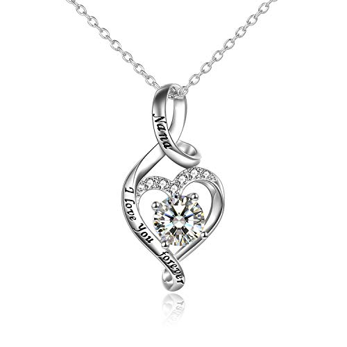 YFN Nana Necklace Jewellery Gifts for Nana Sterling Silver Nana I Love You Forever Heart Necklace Birthday Gifts (silver-nana necklace)