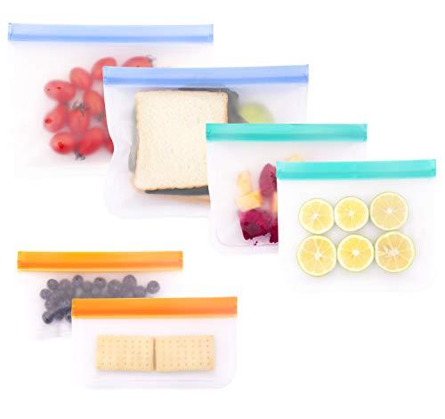 Qshare再利用可能な食品保存バック 食品収納袋 6つ密閉シール食品貯蔵(2つの大きいバックと2つのランチバッグと2つのスナックバッグ)果物と野菜、穀物、旅行など多目的収納 冷蔵と冷凍に対応 (6枚マルチカラー-1)