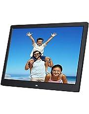 15インチデジタルフォトフレーム高解像度LCD1280 * 800 IPS額縁ビデオフレームカレンダー、目覚まし時計、複数のファイル形式と外部USBおよびSDカードをサポート