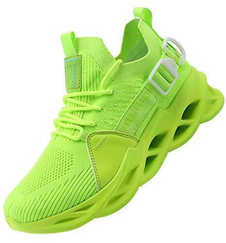 AARDIMI Herren Laufschuhe Fitness straßenlaufschuhe Sneaker Sportschuhe atmungsaktiv Anti-Rutsche Gym Fitness Schuhe (Grün, Numeric_45)
