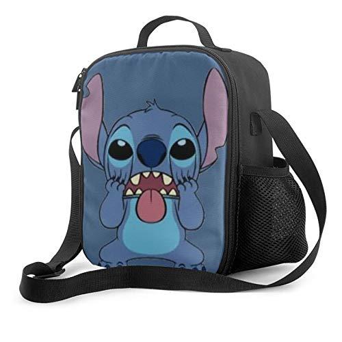 Lilo Stitch Anime Bolsa de almuerzo aislada Bento Box Lunch Picnic Cool Bag para hombres mujeres trabajo picnic o viajes con bolsillo frontal cremallera