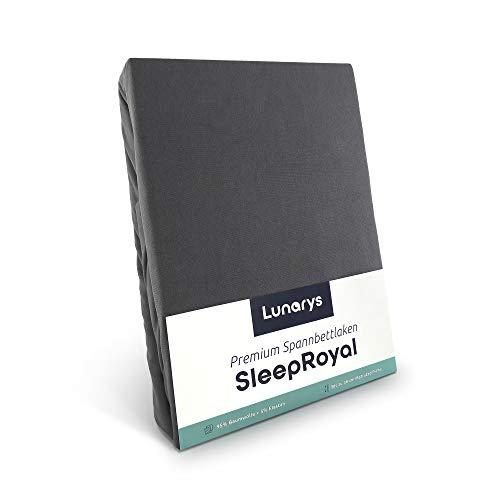 Lunarys® SleepRoyal Luxus Spannbettlaken 140x200 cm / schwere Qualität / 250 g/m² / 40 cm Steghöhe / für hohe Matratze, Boxspringbett & Wasserbett / hochwertiges blickdichtes Jersey-Spannbetttuch