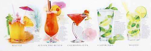 Glasbild Cocktails inkl. stabiler Aufhängung Größe: 33 x 95 cm