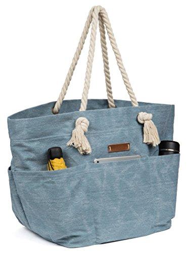 Malirona Large Canvas Beach Bag Shoulder Bags,6, Light Blue, Size One_Size