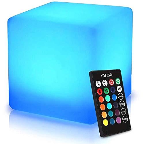ENAL1 Romantisches Nachtlicht Wiederaufladbare LED Cube Leuchthocker, Garten-Pool-Party Boden Mood Light 16 RGB-Farben-4 Helligkeit Lampe Adjustable Platz Stuhl im Freien wasserdichten Sitz mit Fernbe
