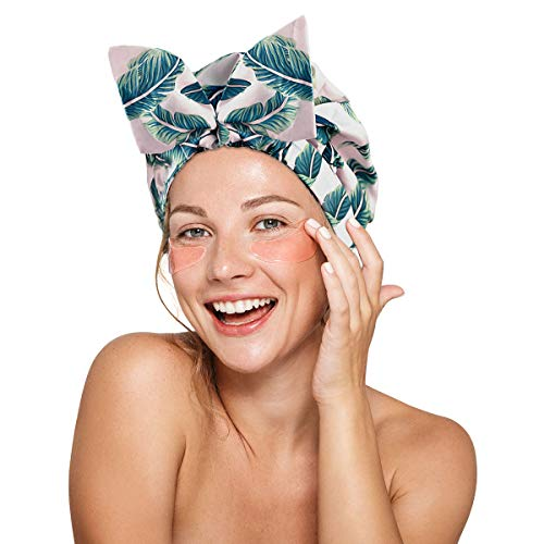 Leotruny Shower Cap Reusable Bow Bath Cap Waterproof for Women All Hair Lengths (C02-Leaves)