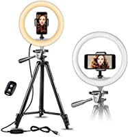 UBeesize Anneau lumineux à selfie avec trépied extensible de 127cm et support de téléphone flexible pour diffusion en...