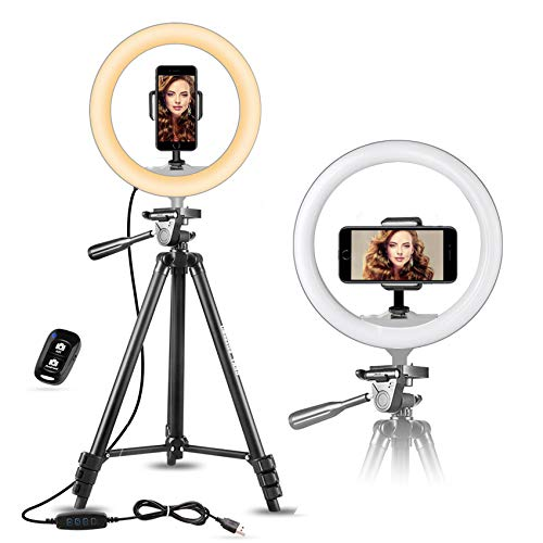 UBeesize 10' Selfie Ring Light with 50' Extendable Tripod Stand & Flexible Phone Holder for Live...