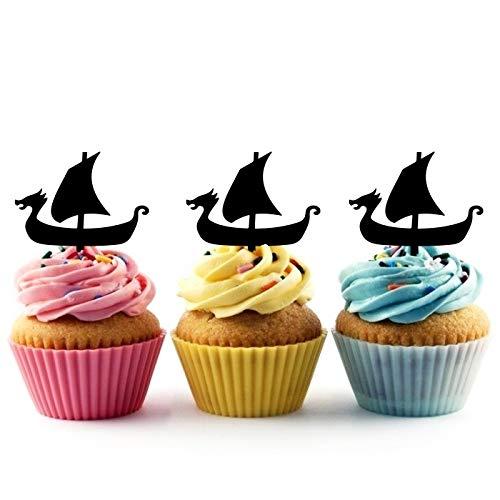 Innovedesire Viking Longship Cupcake Cake Topper para Tartas decoración para Ceremonia de cumpleaños celebración Boda decoración de acrílico Topper para Cake Fiesta Pastel Decoraciones 10 Piezas