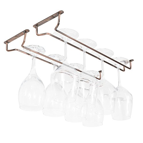 Wallniture Brix Wine Glasses Holder Under Cabinet Organization and Storage Set of 2, Steel Oil Rubbed Finish 17 Inch Wine Glass Rack