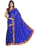 Indian Trendy Women's Bollywood Sequin Embroidered Sari Festival Saree Unstitched Blouse Piece Costume Boho Party Wear (Royal Blue)
