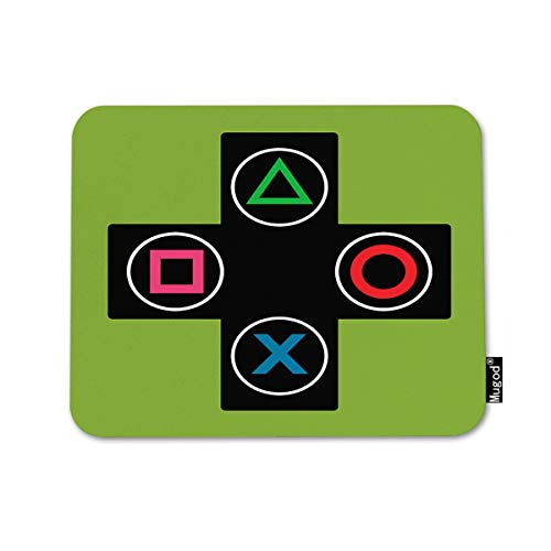 Mugod Mouse Pad Green Console Gamer Video Games Black Round Decor Gaming Mouse Pad Rectangle Non-Slip Rubber Mousepad for Computers Laptop 7.9x9.5 Inches
