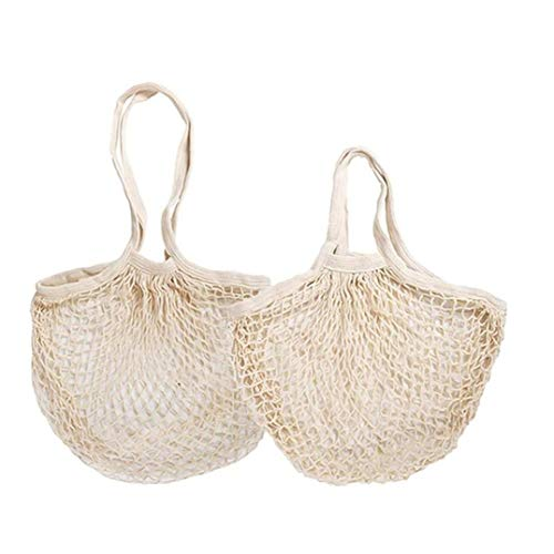 String Mesh Shopping Bag Produce Bags Practical Grocery Cotton Bag for Storage Fruit Vegetable Long Short Handdle 2pcs Kitchen Accessories