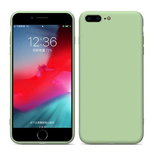 ANLW Funda de iPhone para iPhone XS MAX/XS/XR / 8/7/6 Plus Silicona Líquida Ultra-Delgada Cubierta de Protección Anti-Caída Teléfono Shell,Green,Apple7/8