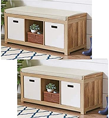 Espresso Better Homes and Gardens 3-Cube Storage Organizer Bench and White//Wood Planter 20 Green//Yellow Faux Snake Plant
