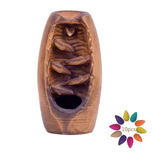 Magiin Keramik Räucherstäbchenhalter Wasserfall Rückfluss Räuchergefäß Aromatherapie Ornament Wohnkultur mit 10 Räucherstäbchen Kegel (Braun)