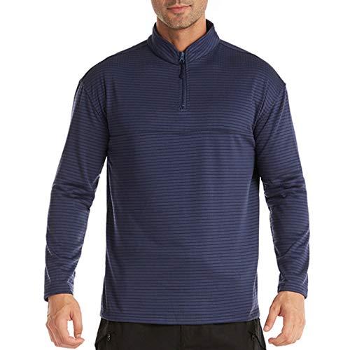 Hombres 1/4 cremallera táctica entrenamiento manga larga camisa raya polar ropa interior térmica superior al aire libre para ciclismo senderismo