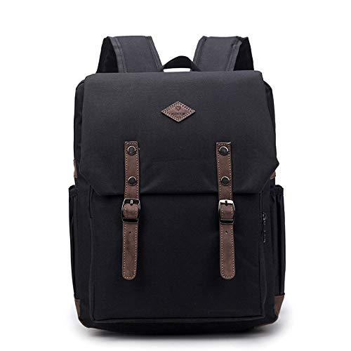 Mochila de los hombres de color sólido mochila mochila mochila mochila mochila mochila mochila impermeable Oxford al aire libre viaje bolsa de negocios, Black (Negro) - dwfx-2127