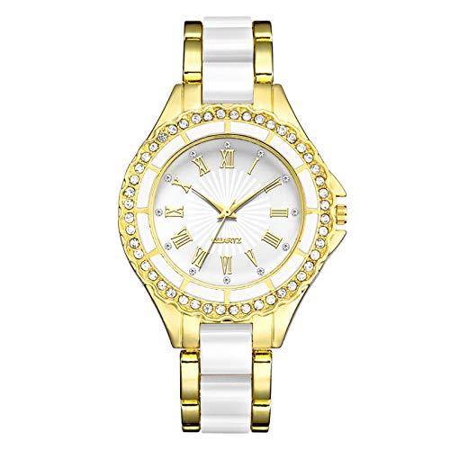 Relojes Para Mujer Relojes de mujer de acero inoxidable de oro Relojes de cuarzo de diamantes de imitación para las mujeres vestido de las mujeres Roman Scales Relk Ladies Watch Regalo Relojes Decorat