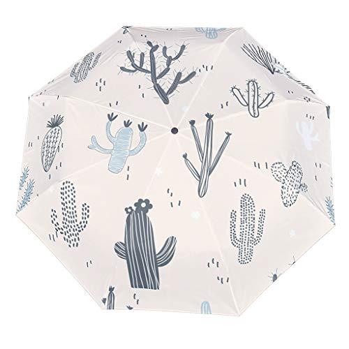 Personalisiert Regenschirm Taschenschirm Kaktus Leicht Kompakt Windsicher Auf-Zu-Automatik Faltbarer Reiseschirm White OneSize