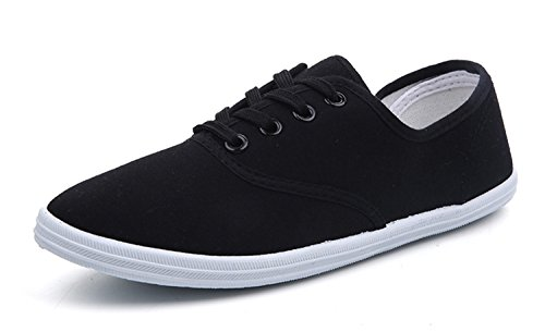 New New Women Canvas Shoes Breathable Fashion Brand Women Flat Shoes Woman Sneakers White Shoes Plus Size 35-42 HQ01 Black 5