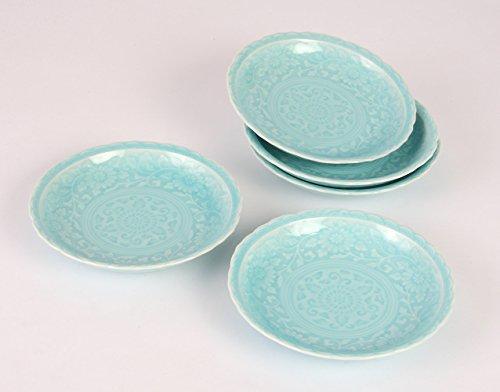 西海陶器有田焼 青白磁 桔梗渕取皿セット 直径16cm 14114