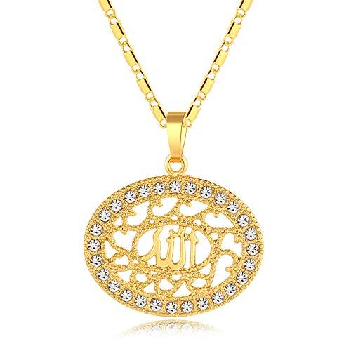 Collar con colgante de elipse para mujer Color oro árabe Oriente Medio accesorios de joyería islámica para Allah-Gold_45CM