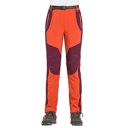 ZIYOU Damen Sport Hosen Warme Outdoor Wasserdicht Winddicht Hosen Wandern Arbeitshosen Latzhose (XXXX-Large,Orange)