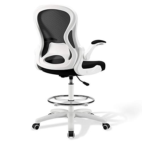 US Stock Ergonomic Drafting Chair, Tall Desk Chair with Arms, Drafting Stool with Mid Mesh Back, High Chair for Standing Desk, Height Adjustable Office Chairs with Foot Rest (White)
