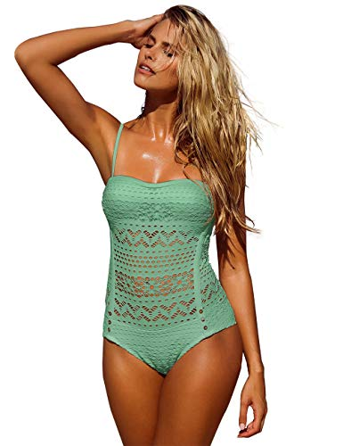 LookbookStore Women's Hedge Green Crochet Lace Halter Straps Swimsuits Swim Bathing Suit US 16