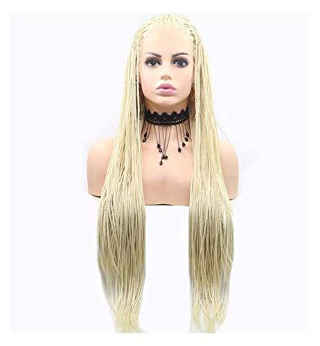 Jsmhh Pelucas for mujeres rubias pelucas trenzadas con cordones sintticos de encaje de encaje africano africano afro brasileo brasilea pelucas de pelucas caja trenzada cosplay, vestido de lujo o us