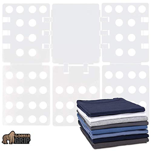 Gorilla Grip Premium Laundry Folding Board, Heavy Duty Clothes Folder, Collapsible Liner for Easy Storage and Travel, Flip Fold Board for T Shirts, Clothing, Tees, Great for Home, Apartment, White