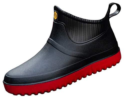 GURGER Gummistiefel Herren Kurz Kurzschaft Regenstiefel Wasserdicht Gummistiefeletten Regenstiefeletten Männer Schwarz Rot Größe 44,275