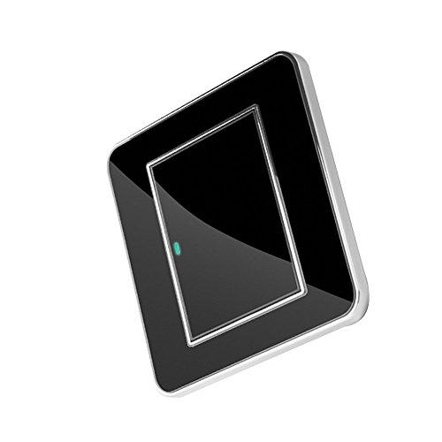 Interruptor regulador inteligente, interruptor táctil de pared estanco LED, tomas de corriente en vidrio negro (1interruptor de control único) x 1
