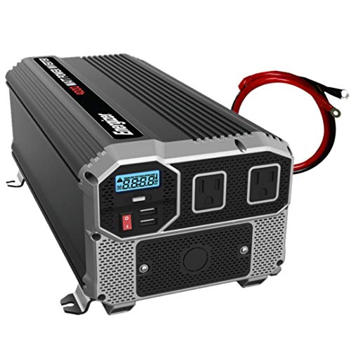 Energizer 4000 watts Power Inverter, Modified sine Wave car Inverter, 12V to 110 Volts, Two AC outlets, Two USB Ports 2.4A ea, hardwire kit, Battery Cables Included – UL Certified Under 458 by METLab