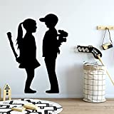 Resumen Banksy bate de béisbol niña flor niño peligro pareja amor vinilo etiqueta de la pared calcomanía dormitorio sala de estar oficina estudio club decoración del hogar mural
