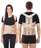 Correcteur De Posture Respirant Maintien Du Dos et Épaules Ceinture lombaire dorsale clavicule Support posturale réglable orthopédique Haut et bas du dos Soulagement de la douleur LUX Beige X-Large