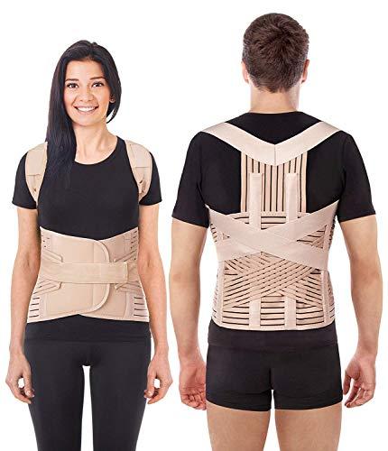 LUX Haltungskorrektur Geradehalter Schulter Rücken Haltungsbandage Posture Corrector Haltungstrainer mit verstellbare Größe verstellbar aus dem hochwertigsten Neopren Beige X-Small