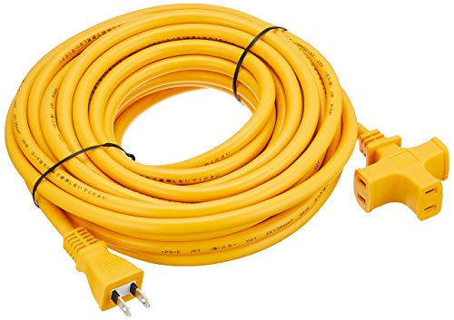 NICOH Soft Extension Cord, 15A 32.8 ft (10 m) Cord, 3 Outlets (Yellow)