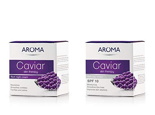 2 x Aroma Caviar Skin Therapy Day & Night Face Creams 50ml Each SPF15 New