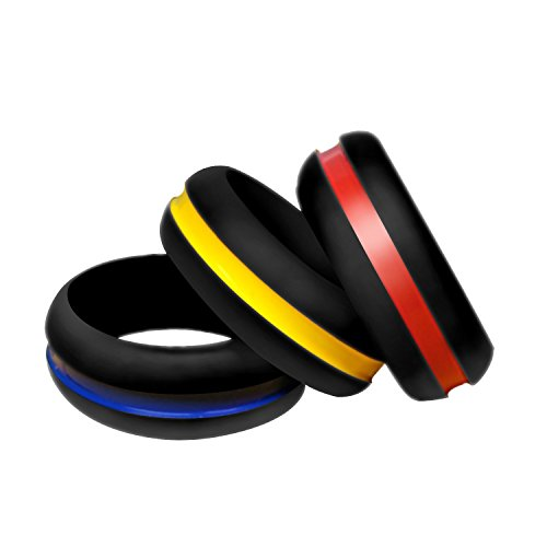Nihoooo Silicone Wedding Ring Band for Men Women - Godly Living Thin Wedding Rings - 3 Pack Best Keepfit Rubber Ring for Red/Yellow/Navy Blue - Center Line (6.5-7(17.3mm))