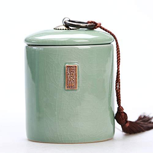 DYR Boîtes à thé, boîtes scellées au Four en céramique Pu'er Ge, réservoirs de Stockage en céladon, Panier à thé en céramique, récipient à thé en Porcelaine-k 7 x 10 cm (3 x 4 Pouces)