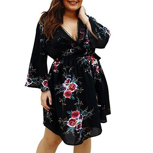 Plus Size Jurk, Dames 2019 Nieuwste Bloemen Wrap V-hals Laag Gesneden Bell Sleeve Zomer Mini Jurken van QIQIU