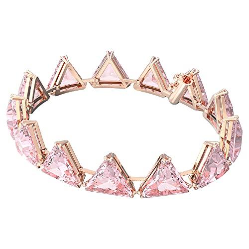 Swarovski Pulsera Millenia, Cristales de Talla Triangular, Rosa, Baño de Rodio