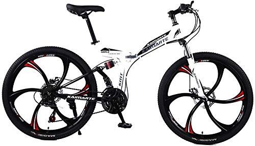 Bicicleta de montaña plegable de 24/26 pulgadas, 21/24/27 velocidades, frenos de disco duales, Road Bikes Racing Bicyc BMX BIK-24 pulgadas, 21 velocidad.