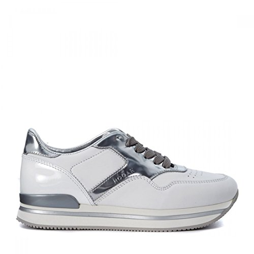Hogan calzature donna H222 in pelle bianca con inserti in argento laminati (36.5, Bianco)