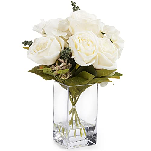Enova Home Mixed Silk Rose and Hydrangea Flower in Glass Vase with Faux Water (Cream) Silk Flower Arrangements